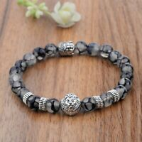 Fashion Men's 8MM Natural Stone Silver Lion Buddha Beaded Charm Bracelets Gift