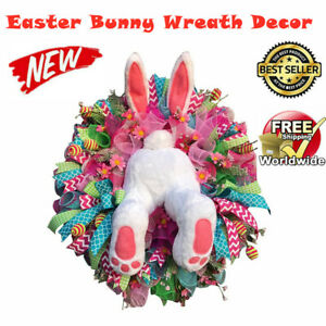 Easter Rabbit Wreath Decor Bunny Butt and Ears Wreath Garland for Front Door