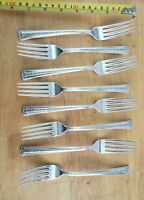 LOT OF 8 MID CENTURY VINTAGE 1954 SPRING BOUQUET SILVERPLATED DINNER FORKS