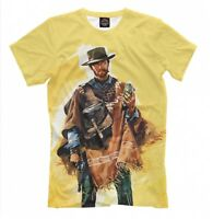 Clint Eastwood t-shirt - wild west style old school print western tee cowboy