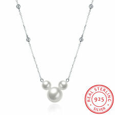 Fashion Charm 925 Silver Pearl Chain Mickey Necklaces Pendant Jewelry For Women