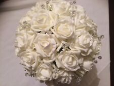 Wedding Flowers Bride Large Ivory & Clear Bead Spray Posy Bouquet
