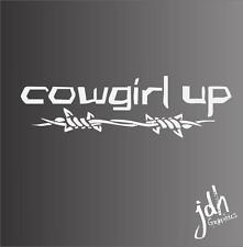 Cowgirl Up Vinyl Decal Sticker Horse Trailer Truck Ranch Pony Country Funny