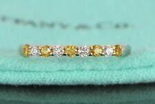 Tiffany & Co Embrace Platinum Round Diamond Yellow Sapphire Wedding Band Size 7