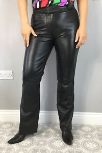 Vintage Gipsy Black Soft Real Leather Bootcut Flared Trousers UK 10 12