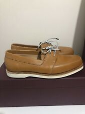 John Lobb Arima Dune Calf Deck White Brown Size 6 Uk New