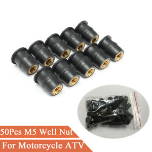50Pcs M5x0.8mm Rubber Well Nut Metric Motorcycle Windscreen Replacement Fastener