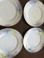 Set Of 4 Bassett Czechoslovakia Hand Painted Plates Rose With Heavy Gold (19)