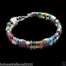 Fashion Tibetan Style Silver Multicolor Jade Turquoise Beads Bracelet Bangle