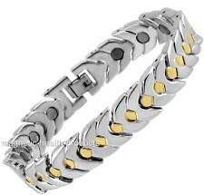MENS CHUNKY MAGNETIC HEALING BRACELET SILVER GOLD ARTHRITIS PAIN RELIEF 140