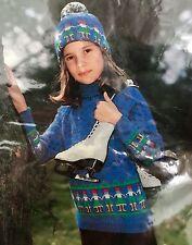 FK16 Knitting Pattern - Child's DK Winter Christmas Jumper & Hat - 4 Sizes