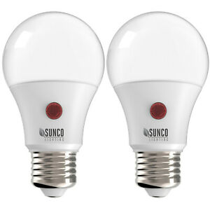 Sunco 2 PACK A19 LED Light Bulb Dusk-to-Dawn Auto On/Off 9W 5000K Daylight