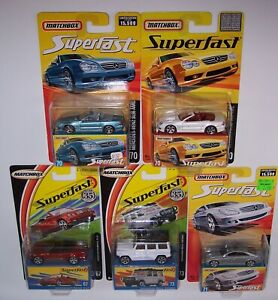 "5X ""MATCHBOX"" SUPERFAST MERCEDES-BENZ **RARE WHITE** SL55 AMG 280GE CLK"