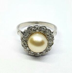 Vintage Platinum Ring With Sea Cultured Pearl And Diamonds