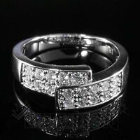 18K White Gold Iced Out Engagement BAND HipHop MICROPAVE CZ Pinky Men Women Ring