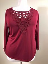 SOFT BY AVENUE  Plus Size 18/20 Burgundy Shimmery Knit Cut Out Trim Shirt