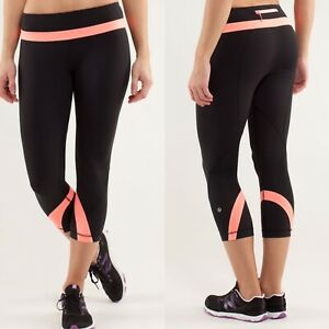 Lululemon Run Inspire Crop II Capri Legging Black Pop Orange Stripe Size 8