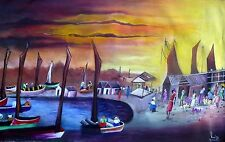 36 x 24 Original Painting by THE  MASTER DANIEL LOUIS.-HAITI- HAITIAN-