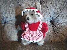 Vintage Dakin Plush Grey Mouse Christmas grandma ms claus outfit