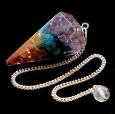 7 Chakra Orgonite Dowsing Pendulum Genuine Gemstone Crystal Chips