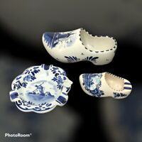 Vintage Delft Blue Holland Delfts Blauw Hand Painted Windmill Shoes Ashtray Lot