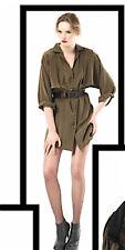NWT $425 RADENRORO New York Army Military Cargo Khaki Silk Dress ARMINA,0/XS