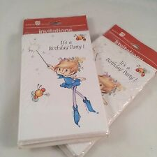 13 Vtg American Greetings Fairy Fairies Birthday Party Invitations Sprite