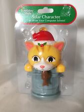 New Sealed Solar Powered Christmas Cat with Fish Holiday Decorations/Toy