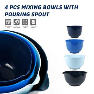 4Pcs Plastic Mixing Bowls Set Serving Bowls for Kitchen Tableware Food