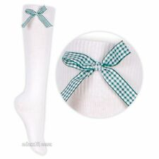 Frilly Knee High Socks With Coloured Bow For Girls Various Sizes Spring Summer