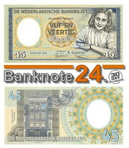 Netherlands, 45 Gulden, 2018, Anne Frank, Specimen, Gabris, Note,
