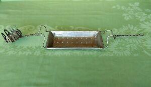 Antique Metal Sponge Soap Dish Glass Holder  Victorian Clawfoot Tub Sink Rack