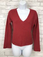 Garnet Hill Women's 100% Cashmere Red V-Neck Pullover Sweater Size XS