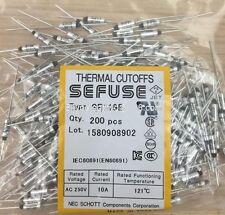200pcs SF119E SEFUSE Cutoffs NEC Thermal Fuse 121°C Celsius Degree 10A 250V