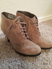 White Mountain Suede Leather Buckle Ankle Boots, Tan - 6.5