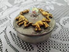 Solid Pewter Round Trinket Box with Swarovski Crystal,  Made is USA