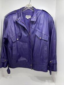 vtg split end purple leather jacket sz m RARE CAFE RACER MOTORCYCLE