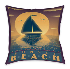 "Nautical Sunset Beach Sailboat Indoor/Outdoor 19"" Toss Pillow"