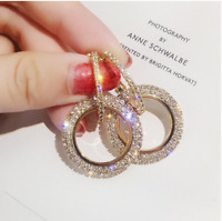 High-grade elegant crystal earrings round Gold and silver earrings wedding party