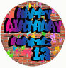 Graffiti Style Customised Edible REAL Icing Image Birthday Cake Toppers Cupcake
