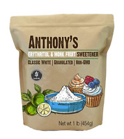 Anthony's Erythritol and Monk Fruit Sweetener Classic White, 1lb, Granulated, 1