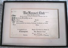 VINTAGE 1935 'THE KENNEL CLUB CERTIFICATE' - NO: 4295 - FRAMED