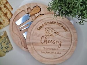 Wooden Personalised Cheese Board Set With Knives