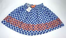 435 Matilda Jane Girls Tarte Tatin Skirt Blue Plaid Elastic Waist Embroidered 12