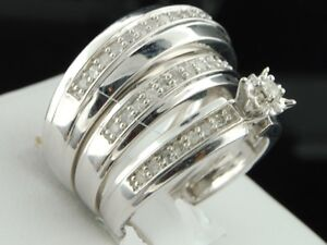 Trio Wedding Ring Set 2.50CT. Diamond Engagement Band His And Her 14K White Gold
