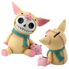 "New Furrybones Furry Bones Bacon Piggy Bank 6"" Skull Skeleton Figurine Gift 7720"