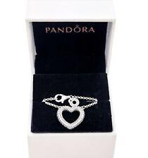 NEW PANDORA 925 Pavé Snake Chain Pattern Open Heart Collier Necklace 399110C01