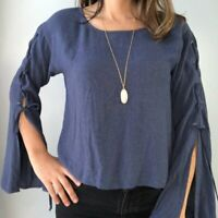 Cloth & Stone Tie Lace Up Long Bell Sleeve Blouse Top Women Size XS Blue Hippie