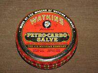 "VINTAGE MEDICINE OLD DRUG STORE 4 1/2"" WIDE WATKINS PETRO-CARBO SALVE TIN CAN"