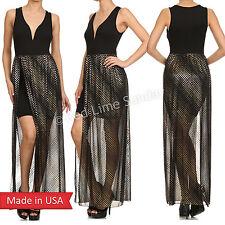 Women Duo Fabric Gold Metallic Foil Mesh Sweetheart Neck Maxi Dress w/ Slit USA